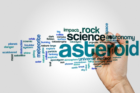 asteroid: Asteroid word cloud concept Stock Photo
