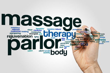 girl with towel: Massage parlor word cloud concept