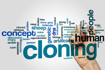 clonacion: La clonaci�n de la palabra concepto de nube Foto de archivo