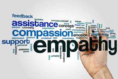 Empatía concepto de nube de palabras con etiquetas relacionadas emoción compasión