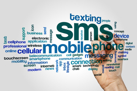 sms: SMS word cloud Stock Photo