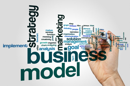 Business model word cloud concept Imagens
