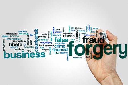 forgery: Forgery word cloud concept with fraud false related tags