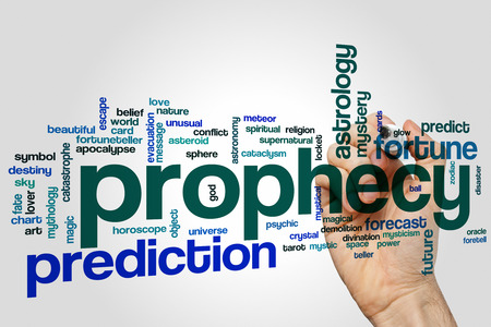 foretell: Prophecy word cloud concept with prediction fortune related tags Stock Photo