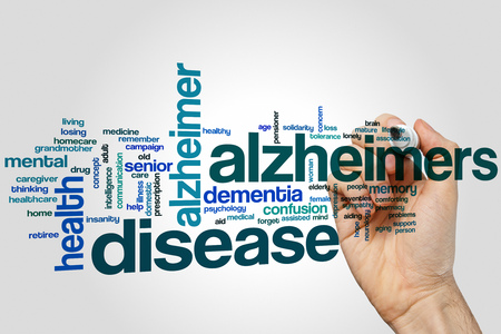 brain aging: Alzheimers disease word cloud concept Stock Photo