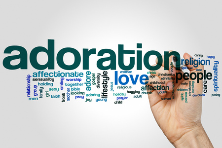 adoring: Adoration word cloud concept with love adoring related tags
