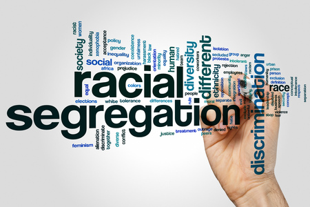 racial: Racial segregation concept word cloud background