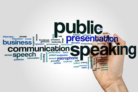 Hablar en público concepto de nube de palabras de fondo