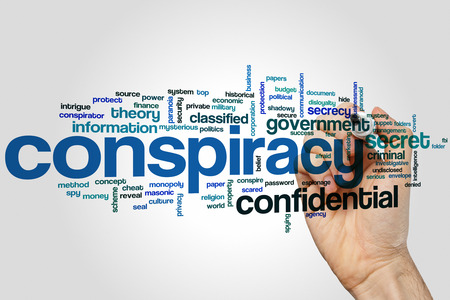 conspire: Conspiracy concept word cloud background Stock Photo