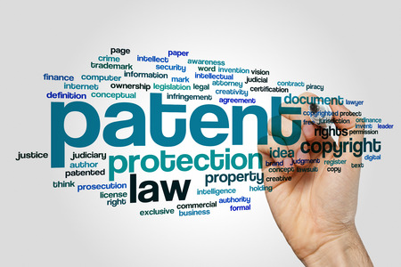 patent: Patent word cloud Stock Photo