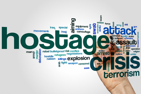 terrorism crisis: Hostage crisis word cloud concept with terrorism police related tags