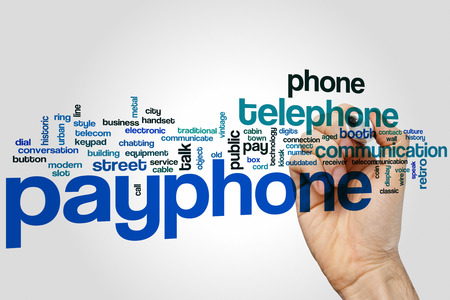 payphone: Payphone word cloud concept with telephone communication related tags Stock Photo