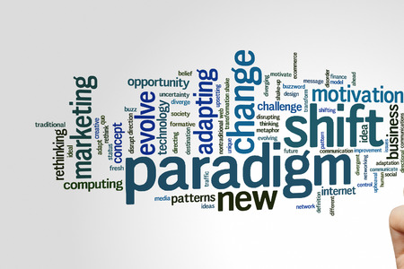 upheaval: Paradigm shift concept word cloud background Stock Photo