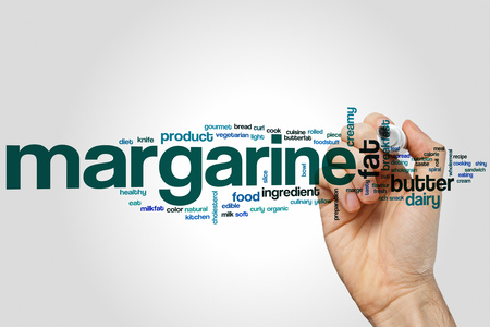 marge: Margarine word cloud concept with butter dairy related tags Stock Photo