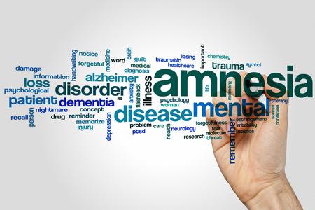 memory drugs: Amnesia word cloud concept Stock Photo
