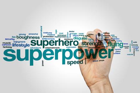 superpower: Superpower concept word cloud background