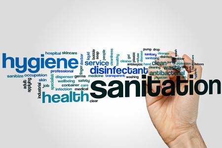 Sanitation word cloud concept Reklamní fotografie