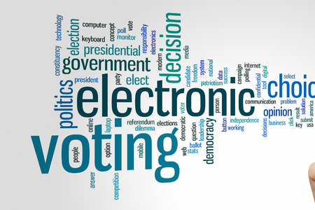 voting: Electronic voting concept word cloud background