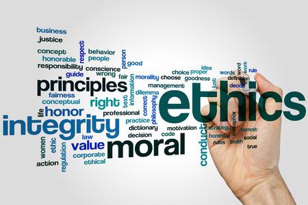 work ethic responsibilities: Ethics word cloud concept