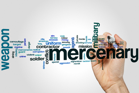 mercenary: Mercenary word cloud concept Stock Photo