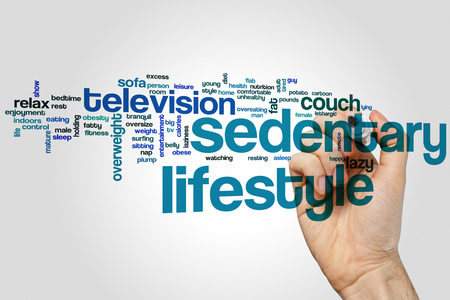 sedentary: Sedentary lifestyle word cloud concept