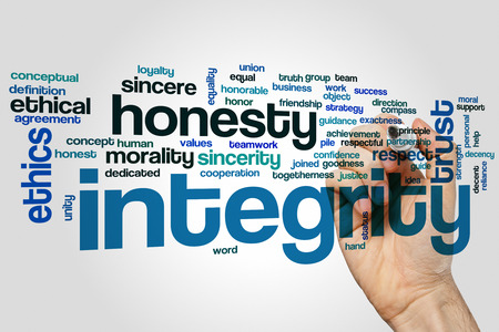 Integrity word cloud concept with honesty trust related tags Banco de Imagens - 52430516