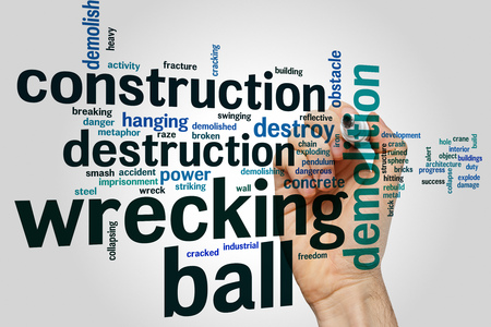 chain ball: Wrecking ball concept word cloud background Stock Photo