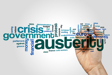 austerity: Austerity word cloud Stock Photo