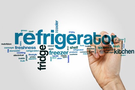 shelf ice: Refrigerator word cloud concept with fridge freezer related tags