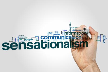 sensation: Sensationalism word cloud concept with news sensation related tags Stock Photo