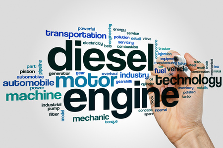 injection valve: Diesel engine word cloud concept with motor machine related tags Stock Photo