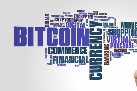Bitcoin concept word cloud background