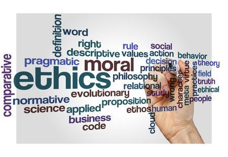 social behaviour: ethics moral philosophy word cloud concept on white Stock Photo