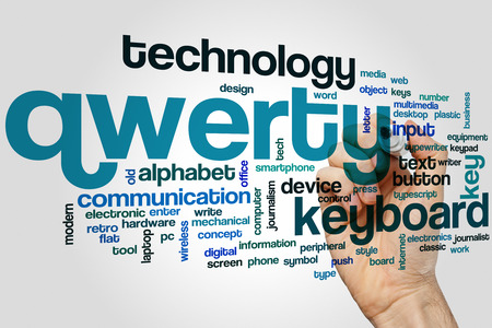 alphabet keyboard: Qwerty word cloud concept with keyboard alphabet related tags