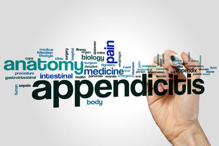 caecum: Appendicitis word cloud concept Stock Photo