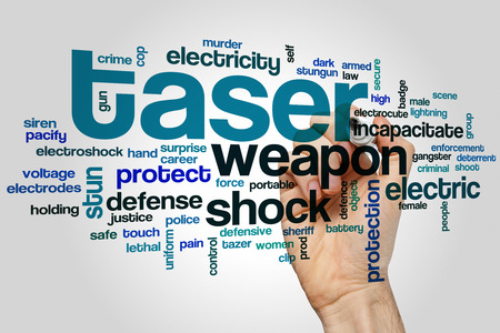 tazer: Taser word cloud concept with shock protection related tags