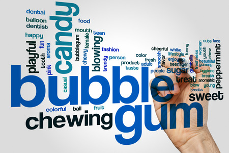 gumballs: Bubble gum word cloud concept with candy chewing related tags