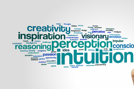 the sixth sense: Intuition word cloud background Stock Photo