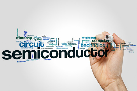 Semiconductor word cloud concept 스톡 콘텐츠