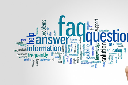 faq: FAQ concept word cloud background Stock Photo