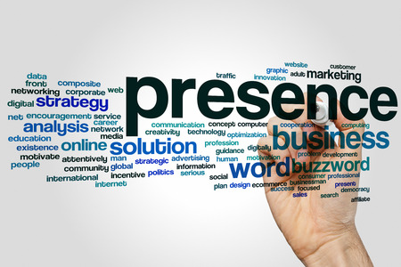 presence: Presence concept word cloud background Stock Photo