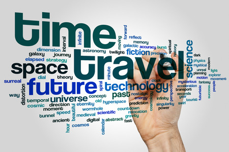 time travel: Time travel concept word cloud background