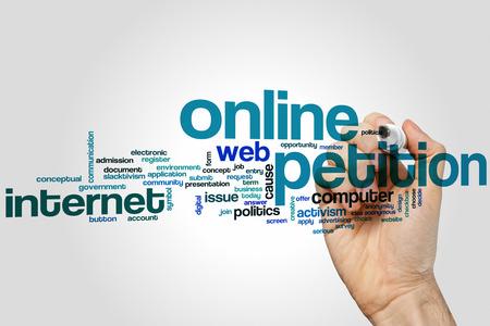 petition: Online petition word cloud concept Stock Photo