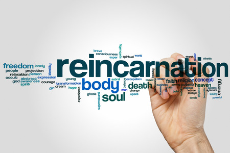 reincarnation: Reincarnation word cloud concept with body soul related tags