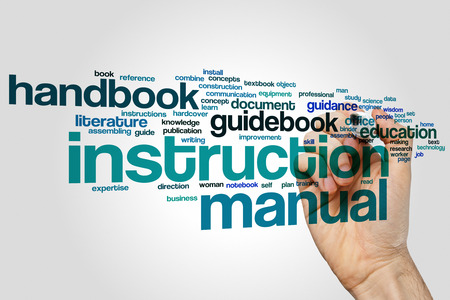 guidebook: Instruction manual word cloud Stock Photo