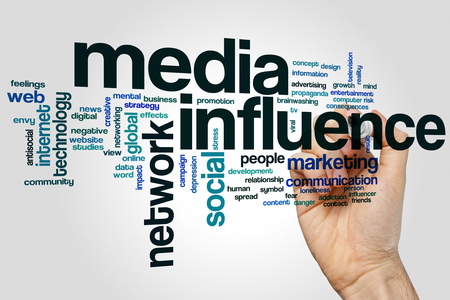 influencer: Media influence word cloud concept with marketing network related tags