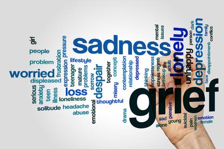 Trauer Word Wolke Konzept mit traurige einsame verwandte Tags