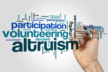 altruismo: Altruismo concepto de nube de palabras de fondo