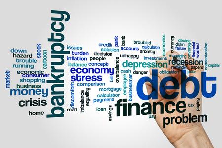 financial burden: Debt word cloud concept