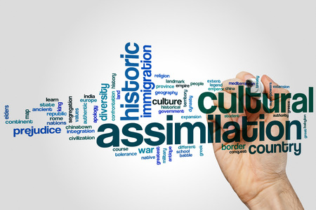 superpowers: Cultural assimilation word cloud concept Stock Photo
